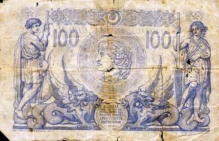 Billet 100 f en 1911 (verso)