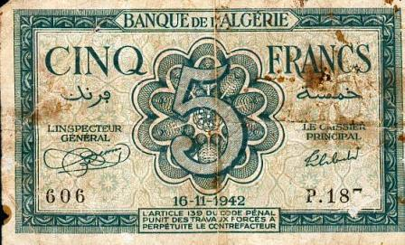 Billet 5 f en 1942 (recto)