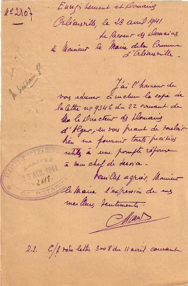 Lettre (23/4/1941)