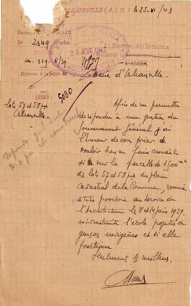 Lettre  (25/6/1943)
