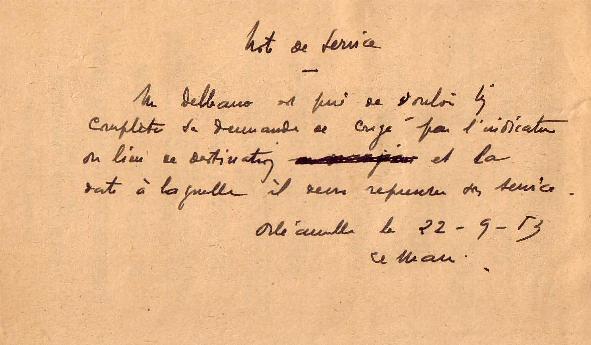 Note de service (1953)