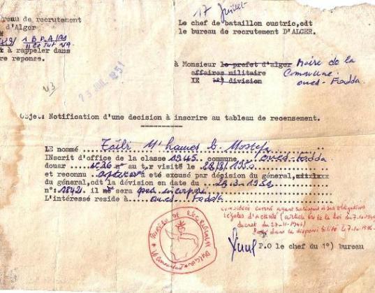 Notification de décision (1951)