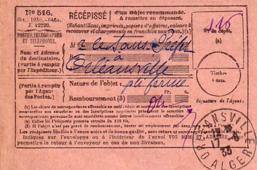 Récipissé  postal (1933)