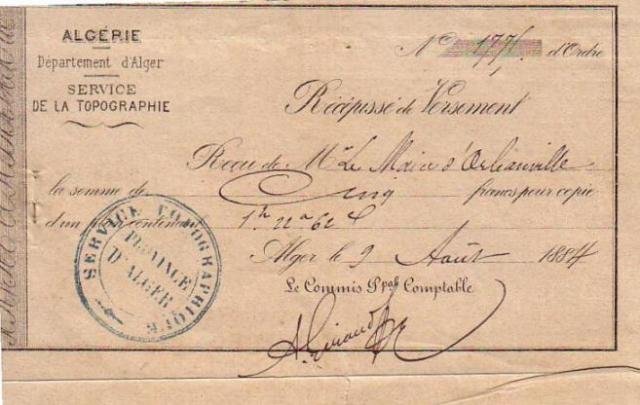 Récipissé de versement (1884)