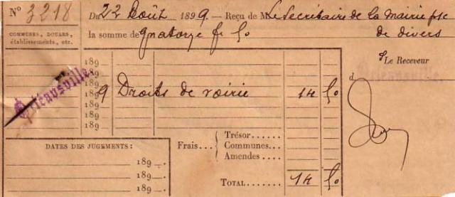 Quittance de 1899