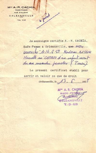 Certificat médical en 1958 (A)