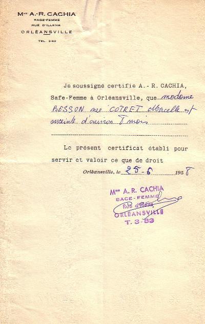 Certificat médical en 1958 (B)
