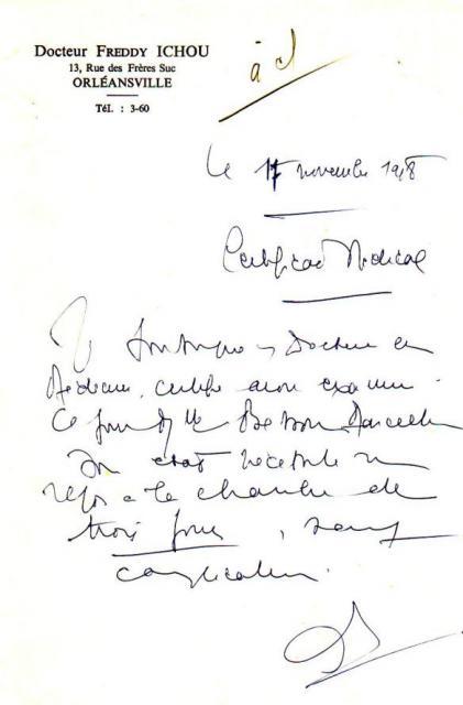Certificat médical  en 1948