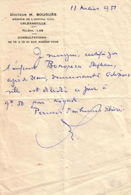 Certificat médical en 1951