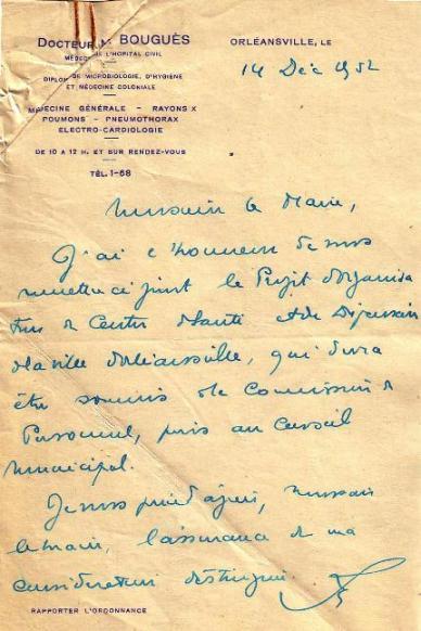 Lettre du Dr. Bouguès