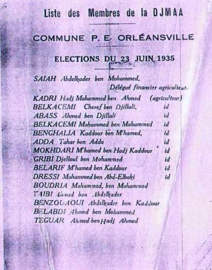 Elections des membres de la Djmaa (1935)